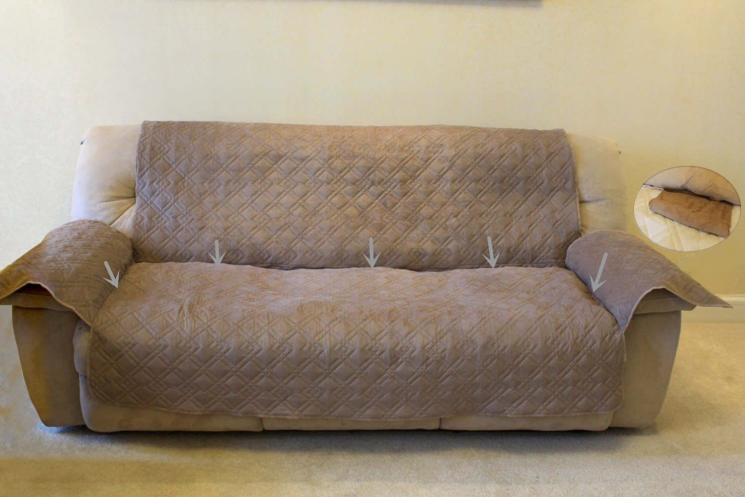 Innx Quilted Microfiber Sofa Protector Helin Of Troy